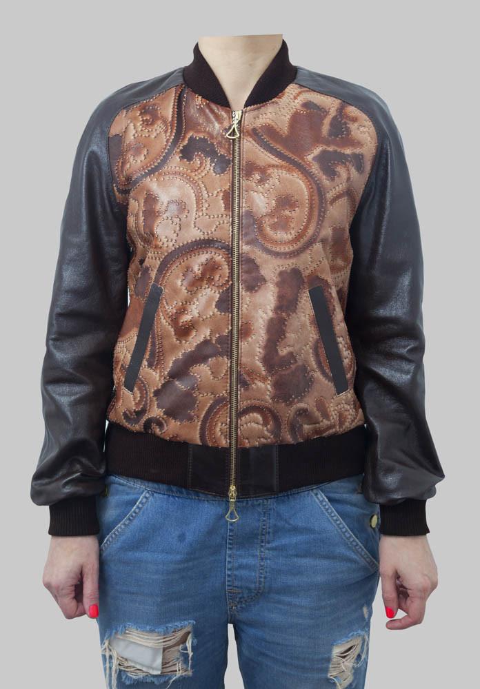 Клубная куртка-бомбер из натуральной кожи