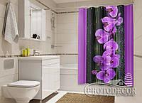 """Фото Шторка для ванной """"Орхидеи на черном"""""""