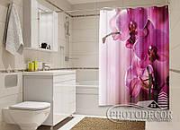 """Фото Шторка для ванной """"Пурпурные орхидеи"""""""
