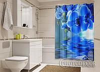 """Фото Шторка для ванной """"Синие орхидеи"""""""