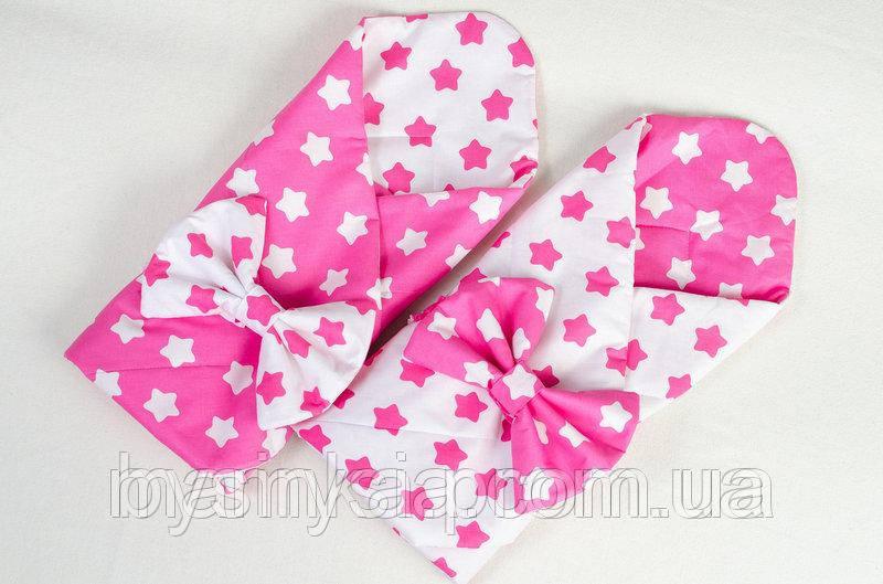 Конверт - одеяло демисезонный Розовые звезды 80 х 85см розовый