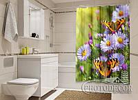 """Фото Шторка для ванной """"Цветы и бабочки"""""""