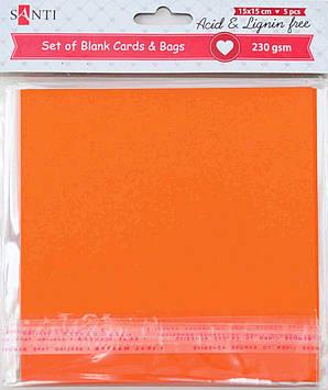 Заготовки для открыток 952284 15х15см оранжевый Santi