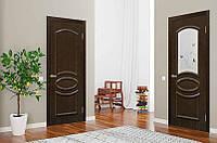 Двери межкомнатные без стекла ПВХ Лика каштан