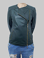 Кожаная куртка косуха бутылочного цвета