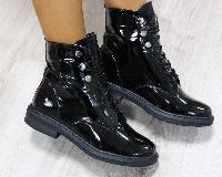 Ботинки зимние кожаные лаковые черные, фото 1