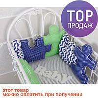 Комплект бортиков в кроватку и простынь Пазлы Синее небо 6 шт. / товары для детей