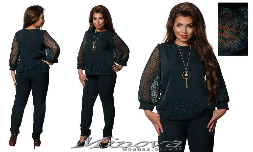 Стильный повседневный деловой костюм брюки+блуза Minova в Украине России (50,52,54,56)