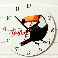 """Детские настенные часы - """"Тукан""""  (на пластике)"""