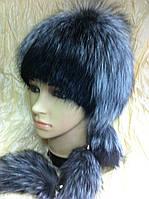 Меховая шапка из ондатры и чернобурки на вязанной  основе цвет чёрный