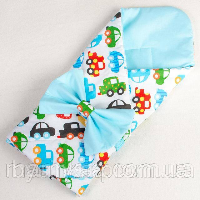 Конверт - одеяло на выписку демисезонный Разноцветные машинки 80 х 85см бирюзовый