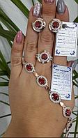 Комплект из серебра 925 пробы с цирконием ( Серьги + кольцо + браслет) с золотыми вставками 375 пробы