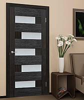 Двери межкомнатные  со стеклом ПВХ Домино венге, фото 1
