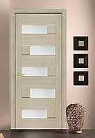 Двери межкомнатные  со стеклом ПВХ Домино дуб latte, фото 1