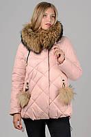 Женская зимняя короткая стеганная куртка с мехом Chanevia