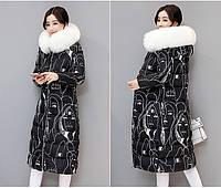 Женское зимнее пальто пуховик парка с принтом и мех на капюшоне.Замеры в описании!