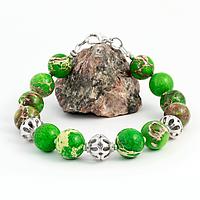Варисцит зеленый, Ø10 мм., серебро, браслет, 288БРВ