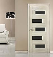 Двери межкомнатные с черным стеклом ПВХ Домино дуб беленый, фото 1
