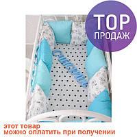 Комплект бортиков в кроватку и простынь Велосипеды 12 шт. / товары для детей