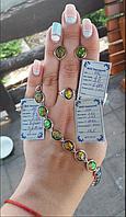 Комплект Радуга из серебра 925 пробы с опалом ( Серьги + кольцо + браслет) с золотыми вставками 375 пробы