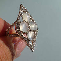 Кольцо с натуральным белым лунным камнем Размер 17.5