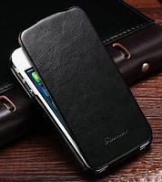 Кожаный чехол флип для iPhone 5 5S черный