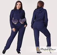 Женский спортивный костюм с кармашками из эко-кожи