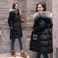 Пуховик - пальто женский, с меховым капюшоном -зимний, теплый. Новейшая модель, есть большой размер 2017-18г.