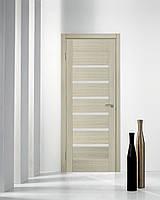 Двери межкомнатные с черным стеклом ПВХ Лагуна дуб беленый, фото 1