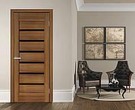 Двери межкомнатные  с черным стеклом ПВХ Лагуна ольха европейская, фото 1