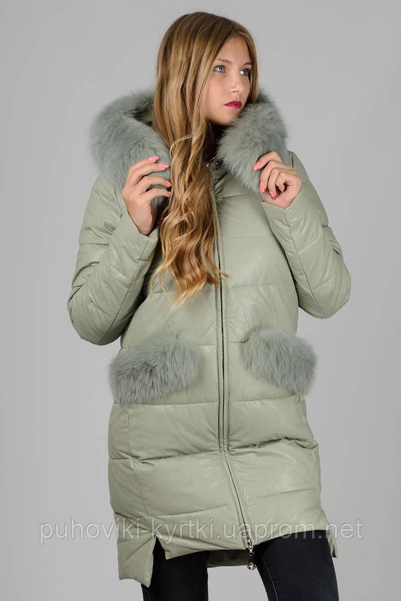 Женский зимний пуховик с натуральным мехом эко-кожа Zilanliya - Интернет- магазин