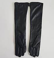 Кожаные женские длинные перчатки классика