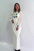 """Женское нарядное платье """"ВОЛОШКОВІ МРІЇ 6"""" размера от  42 до 56 в этническом стиле, вышитое гладью молочное"""