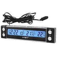 """Автомобильные часы + термометр VST 7036 """"соня""""/ прикурка-батарейка"""
