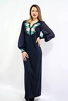"""Женское нарядное платье """"ВОЛОШКОВІ МРІЇ 6"""" размера от  42 до 56 в этническом стиле, вышитое гладью темно синее"""