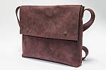 Кожаная сумка VS133  burgundy 26х22х4 см, фото 2