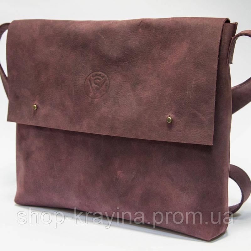 Кожаная сумка VS133  burgundy 26х22х4 см