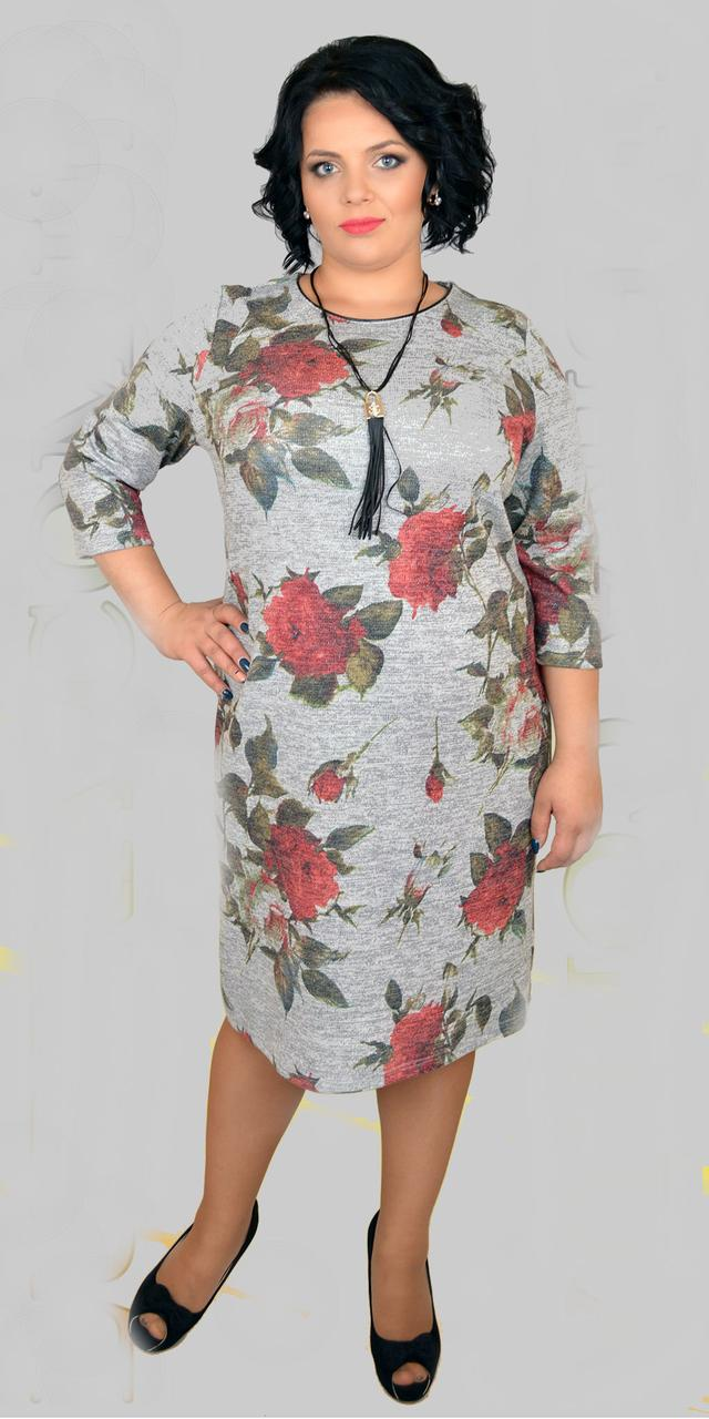 Женское платье ангора с люрексом, 50-56
