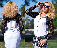 Женская нарядная белая рубашка батал