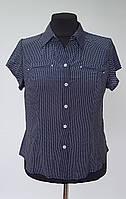 Женская летняя блузка рубашечного кроя в мелкий горошек