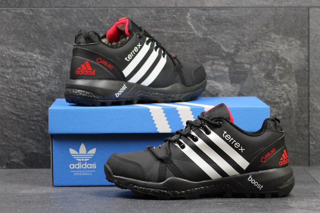 Кроссовки зимние Adidas Terrex черные с белым,на меху 46р