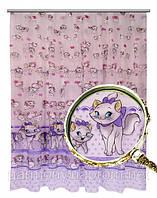 Тюль Котята (фиолетовый)
