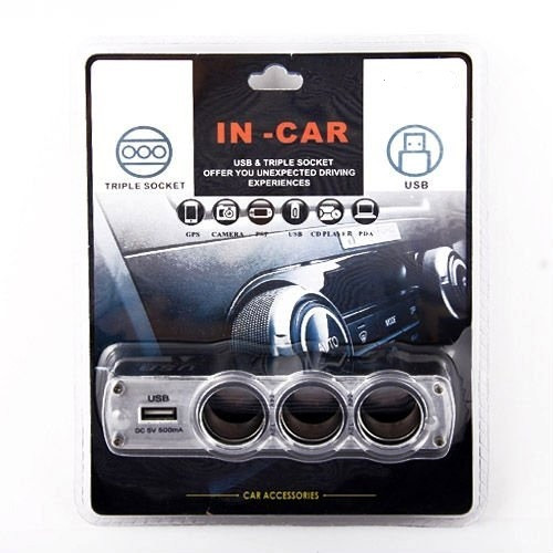 Разветвитель c USB IN-CAR тройной разветвитель для авто