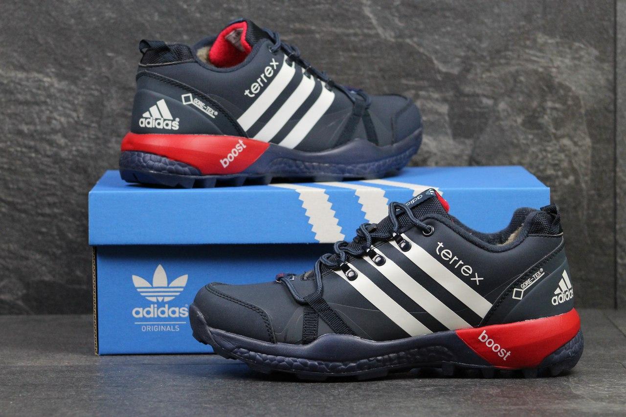 Кроссовки зимние AdidasTerrex синие с белым,на меху 45р