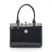 Каркасная женская сумка черная лак