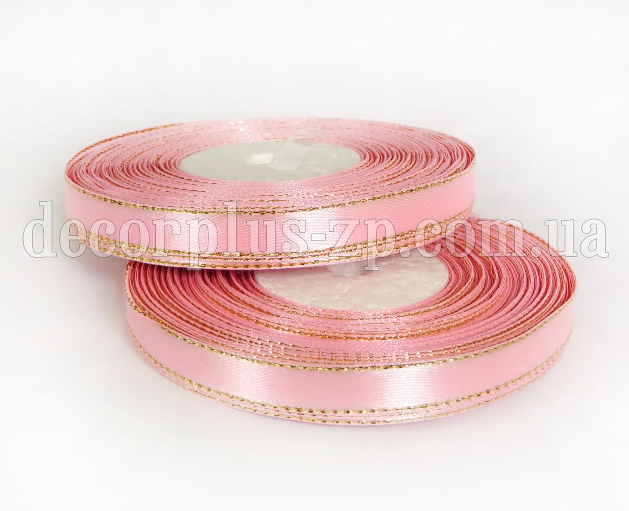 Лента атласная с люрексом 1,0см бледно-розовая