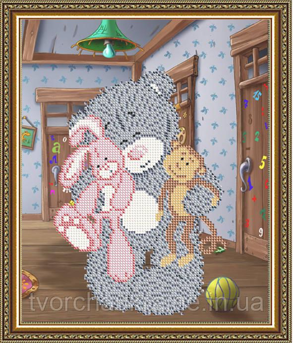 Авторская канва для вышивки бисером «Мишка с игрушками»