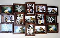 Деревянная эко мультирамка, коллаж #215 тёмный орех, венге, белый, чёрный., фото 1