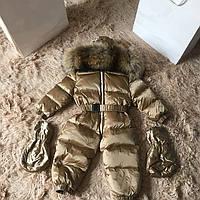 Детский зимний комбинезон MONCLER золотистый цельный