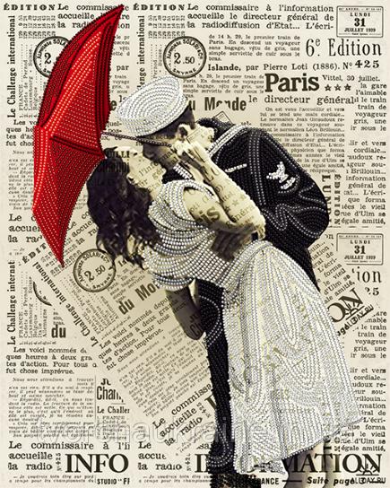 Схема на ткани для вышивания бисером Поцелуй